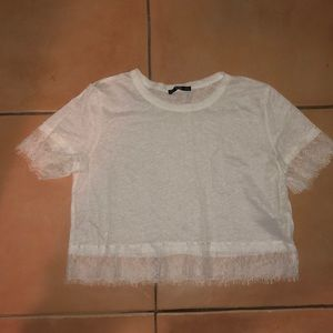 Zara white crop top with lace detail size L